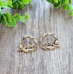 Vintage Gold Cupid Earrings